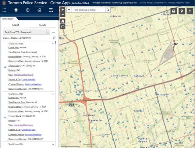 Carte interactive visualiser crimes commis